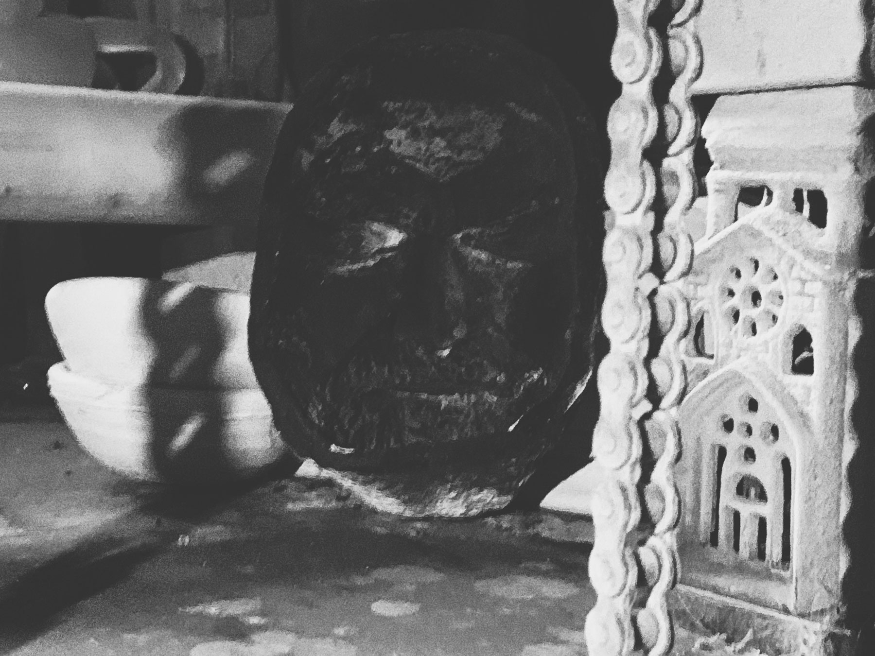 Clay mask on kiln